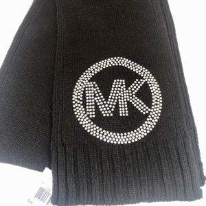Michael Kors Black Studded MK Logo Scarf-NWT